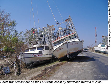 Boats washed ashore on the Louisiana coast after Hurricane Katrina in 2005.
