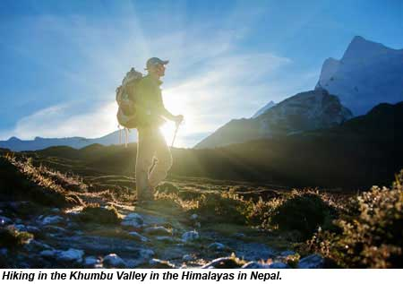 Hiking in the Khumbu Valley in the Himalayas in Nepal.