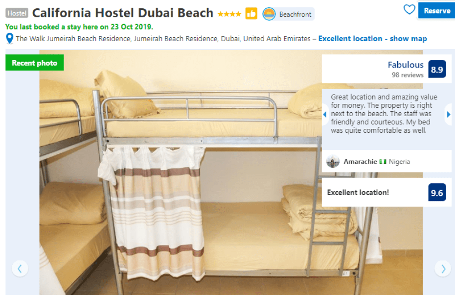 California Hostel Dubai Beach