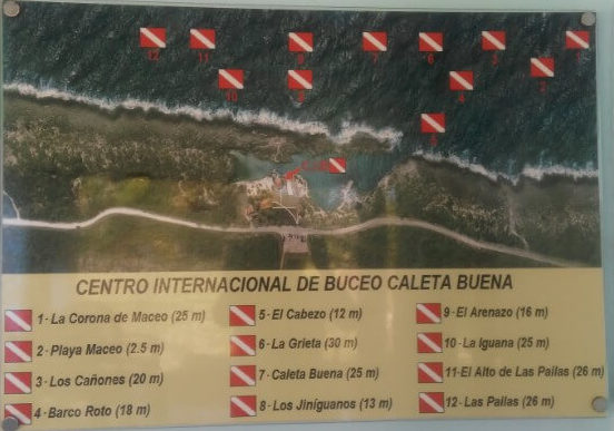 Diving spots close to Caleta Buena