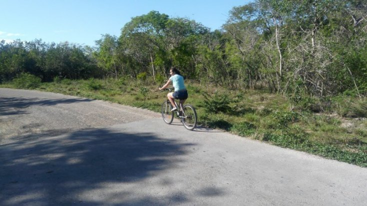 Riding a bicycle to Caleta Buena