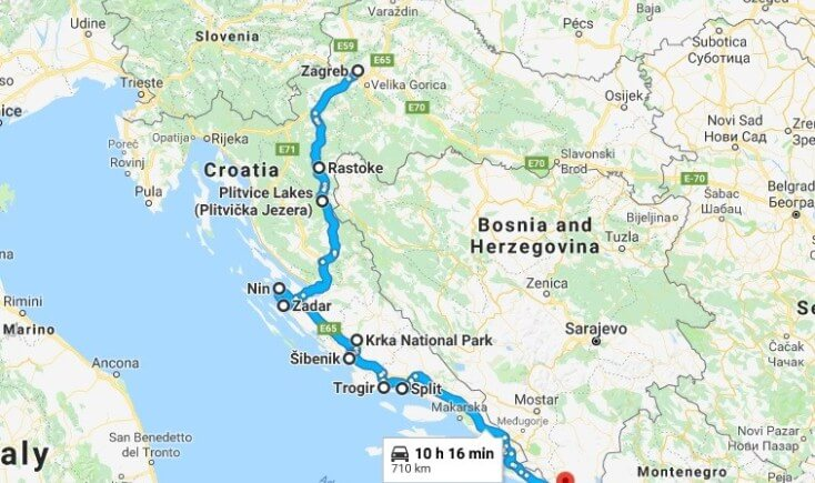 Map for the 8 days itinerary in Croatia