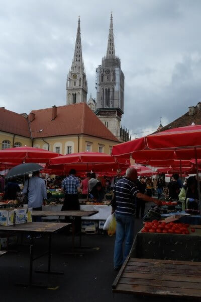 Dolac market with the Cathedral behind it, Zagreb