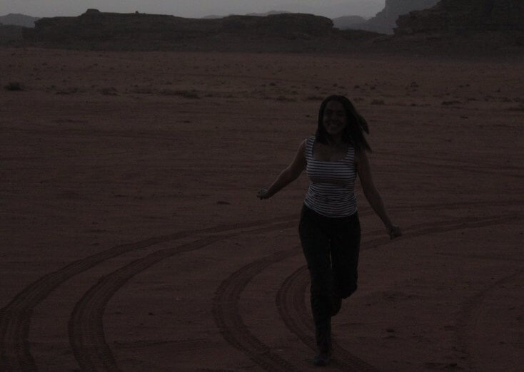 Happy in Wadi Rum, Jordan