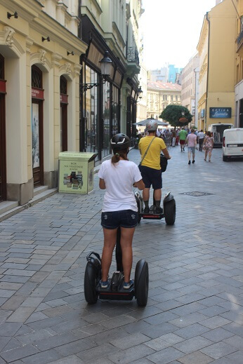 On segway in the center of Bratislava