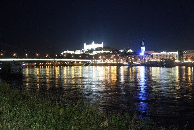 Bratislava castle and city center by night