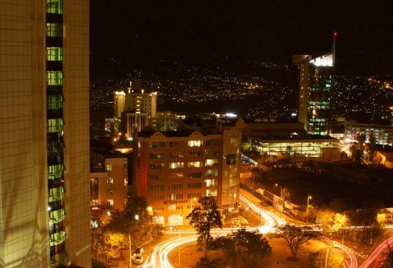 Night View of Kigali from Ubumwe Grand Hotel Rooftop. Image Source : Tripadvisor