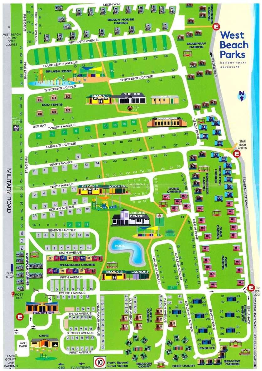 Big4 West Beach Park Map