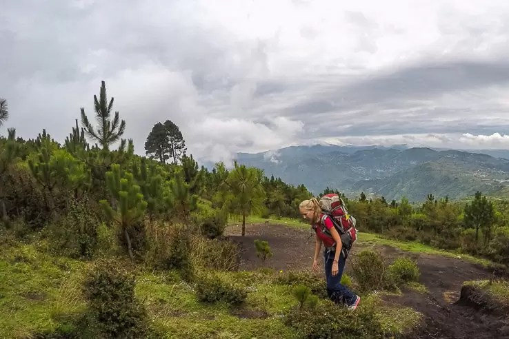 Hiking Tajumulco volcano the highest mountain in Central