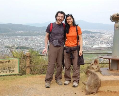 Claudia e Gabri al parco delle scimmie di arashiyama