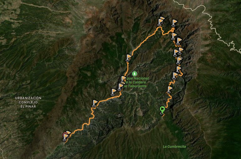 Mappa del Barranco di Cumbrecita