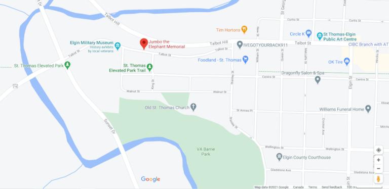 Location on Jumbo the Elephant Memorial Statue in St. Thomas Ontario