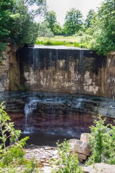 Indian Falls horseshoe waterfall in Owen Sound Ontario