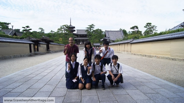 This group of middle school kids and an 80 year old man became my entourage on my visit to Horyuji Temple.