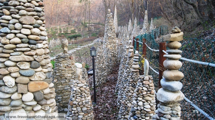 Stones stacked for prayer.