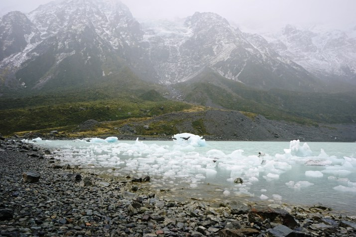The end of the Hooker Valley Trail has some awesome floating glacier pieces.