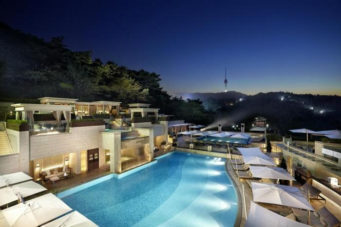 The Shilla Hotel in Seoul, with Namsan tower in the distance.