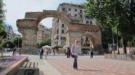 Roman arch, downtown Thessaloniki. Photo by Hedy & Peter Rose.