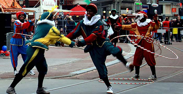 Hula Hoop Piets on streets of Amsterdam