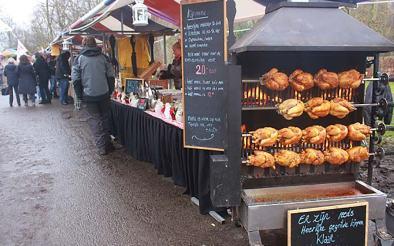 Rotisserie chicken at outdoor Pure Market Amsterdam
