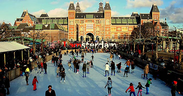 Museumplein's urban ice rink at the Rijksmuseum in Amsterdam