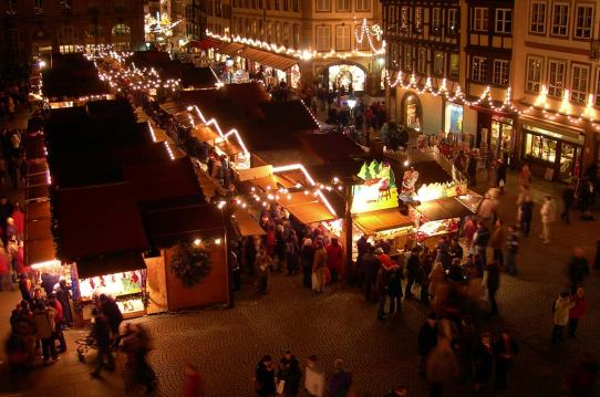 Christmas market near Strasbourg Cathedral France