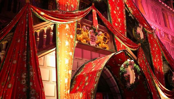Christmas fabric decorates City Hall in Mulhouse