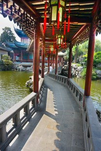 One of many bridges, lakes and pavillions in Yu Gardens