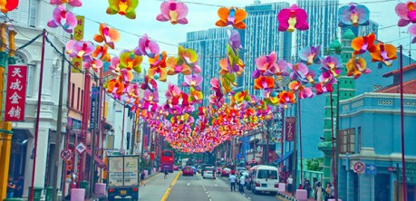Street decorated with giant lotus blossoms for the Lotus Blossom Festival