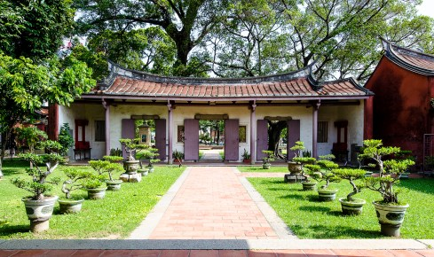 Taiwan is home to many religious traditions including this Confucian Temple, Kong Miao, located in the ancient city of Tainan. The temple and its grounds are more spacious, almost minimalist, than the predominant Buddhist temples.