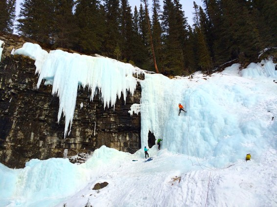 Ice Climbing at Johnston Canyon Upper Falls. Photo Credit: Jenn Smith Nelson