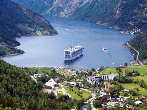 Geirangerfjord: Our cruise ship anchored off the town of Geiranger. Photo credit: Jennifer Crites