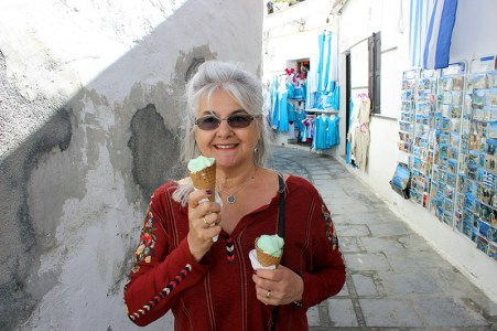Lisa with Gelato in Rhodes. Photo credit: Jim Richardson