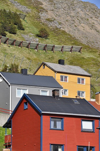 North Cape: Houses protected by avalanche barriers. Photo credit: Jennifer Crites