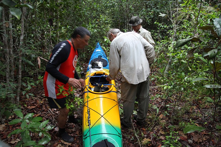 Portaging through the jungle. Photo credit: Jeffrey Lehmann