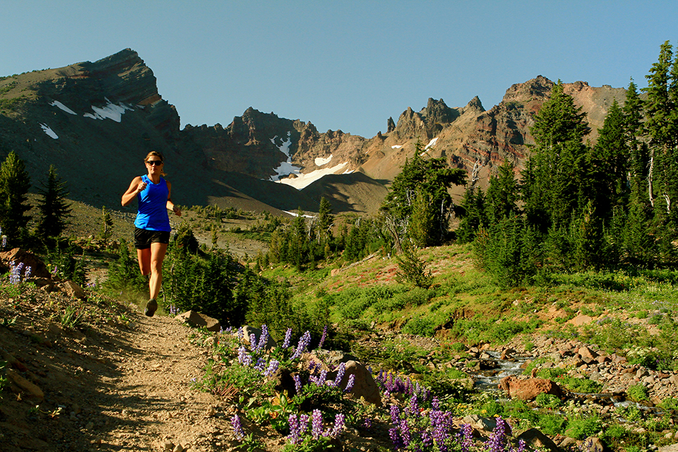 Trail running near Broken Top in Bend, Oregon