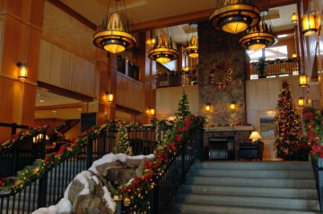 Steamboat Springs Ski Resort Grand Hotel decorated staircase. Photo Credit: Larry Pierce