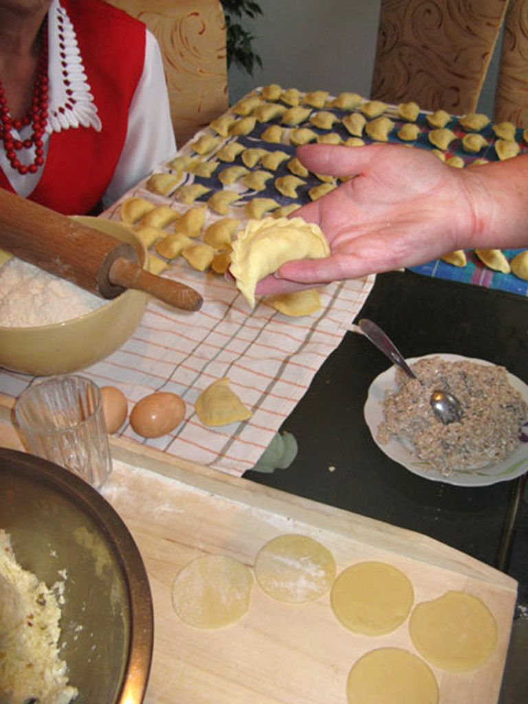 Making pierogi dumplings