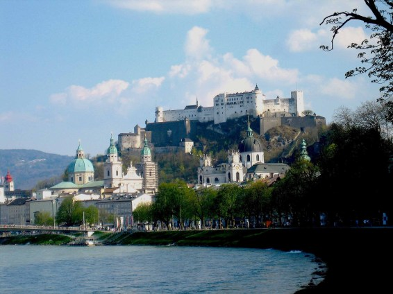 Salzburg cityscape from river