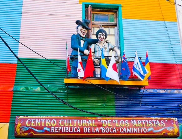 Mannequins represent colorful Argentine figures in La Boca barrio