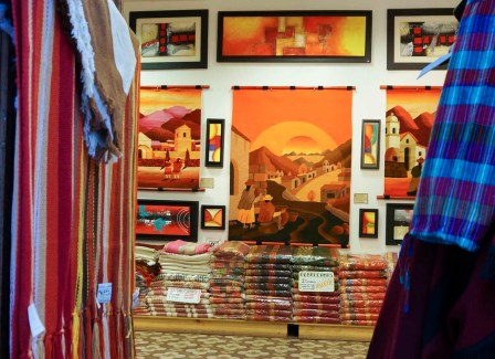Handmade goods and art for sale at a desert town shop