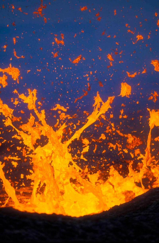 Fountaining lava from Kilauea east rift zone eruption near Pu'u O'o vent; Hawaii Volcanoes National Park, Island of Hawaii.