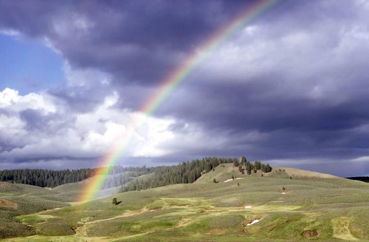 Rainbow in Hayden Valley - Photo by Richard Lake, 1967
