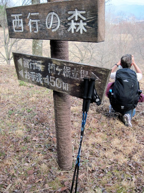 With her walking poles propped against a mileage marker, Carol Behm of Canberra, Australia, stops along the Nakasendo to snap a picture.