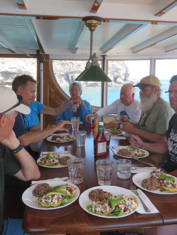 Passengers and crew enjoy meals together on the M/V Westward. Photo by Deborah Stone