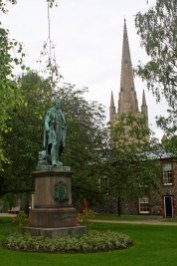 Norwich Cathedral watches over a statue of the Duke of Wellington. Photo by Melanie Votaw