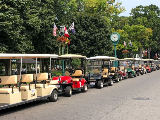 Golf Carts lining the street
