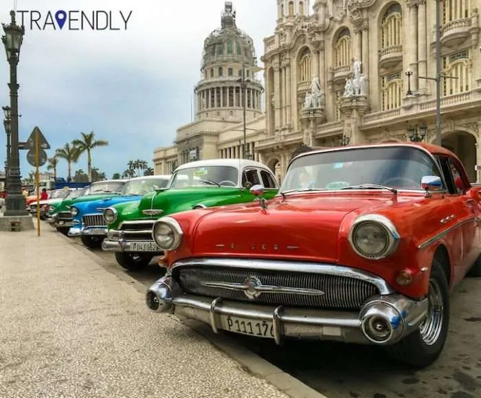 Colorful cars parked in Havana Cuba