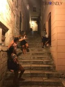 Striking a pose in Dubrovnik, Croatia city streets