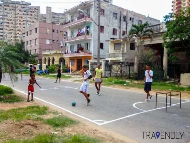 Football in the streets of Havana Cuba